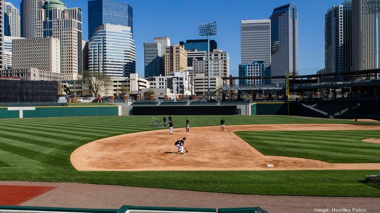 The Charlotte Knights took a test run on their new home field at BB&T Ballpark uptown on Tuesday, April 1. The team will play its first game there on April 11.