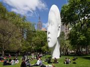 Echo (2011), a sculpture by Jaume Plensa, last was installed at Madison Square Park in New York City.