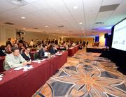Attendees prepare for a general session at the Intercontinental Miami on the first day of the Airline Distribution 2013 conference.