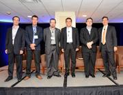 The panel assembled to discuss airline focus on Latin America. From left to right: Hernan Sznycer, industry affairs manager for ALTA; Alex de Gunten, executive director for ALTA; Fabricio Cojuc Wolfowitz, executive VP for Aeromar; Jurgen Lippinkhof, chief commercial officer with Insel Air International B.V.; Edmar Prado Lopes, CEO of GOL; and Ruben Martinez, senior VP of revenue management and distribution for Aeromexico.