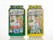 SweetWater 420 and IPA cans.