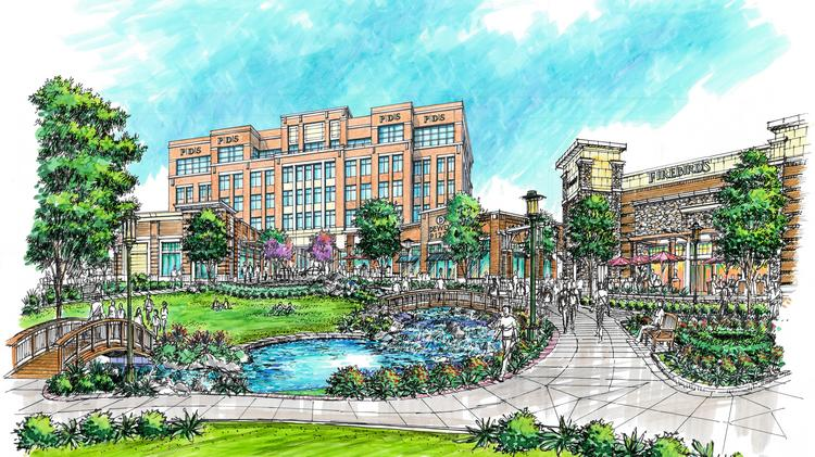 RG Properties is building a new four-story, 85,000-square-foot office building with first-floor retail overlooking the park area that includes the Dewey's Pizza and Firebirds Wood Fired Grill restaurants.