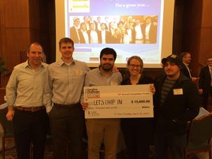 Jeff Henroid, second from left, and his LetsChipIn startup team took first place at the Carolina Challenge at UNC Chapel Hill.