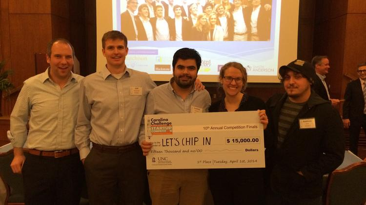 Jeff Henriod, second from left, and his LetsChipIn startup team took first place at the Carolina Challenge at UNC Chapel Hill.