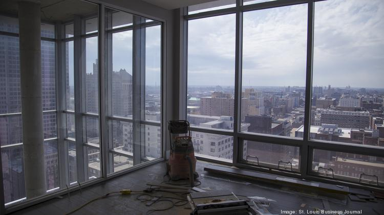 A general view from the master bedroom in one of the two penthouse apartments is shown in the Tower at OPOP on April 1, 2013 in St. Louis.