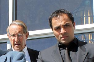 Gurbaksh Chahal (right) leaves court with attorney Stuart Gordon in San Francisco
