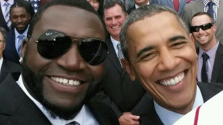 President Barack Obama poses with David Ortiz in what was later discovered to be a staged shot courtesy of Samsung.