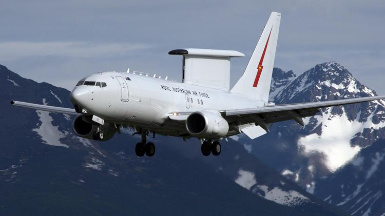The command center aircraft that Boeing is selling to Qatar will resemble these Australian Wedgetails. Note the distinctive radar antenna mounted above the fuselage.