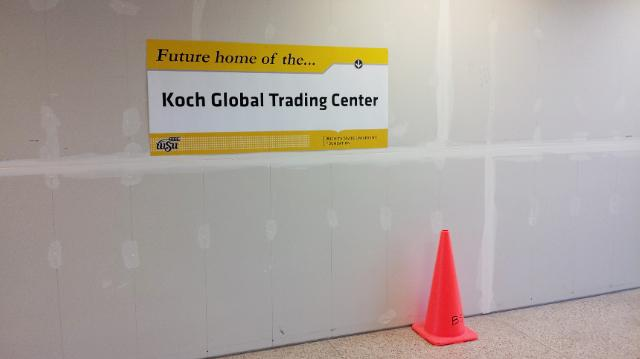A Wichita State University representative snapped a picture Wednesday of the newly installed sign denoting the future home of the Koch Global Trading Center. Elizabeth King, president and CEO of the WSU Foundation, shared the photo with the Wichita Business Journal.