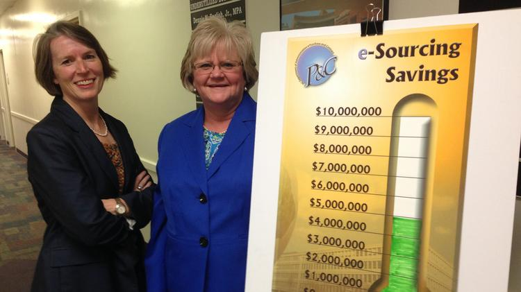N.C. Department of Administration COO Dee Jones, left, and State Purchasing Officer Patti Bowers, right.