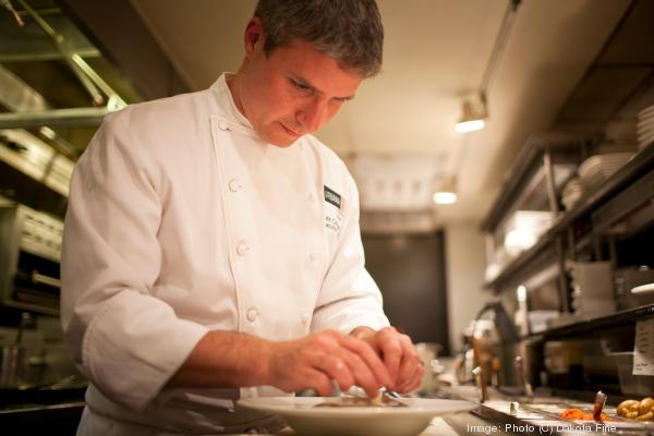 Chef John Critchley at work in the kitchen.