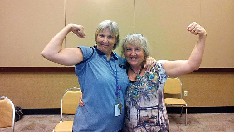 Employees show off their healthy physiques.