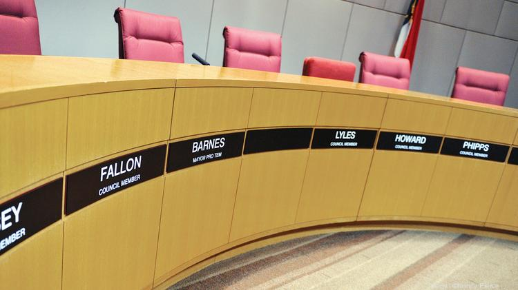 Former Charlotte Mayor Patrick Cannon's name has been removed from City Council chambers.