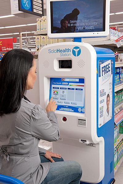 SoloHealth kiosks offer users eye tests, blood pressure screenings, body-mass index and a health assessment.