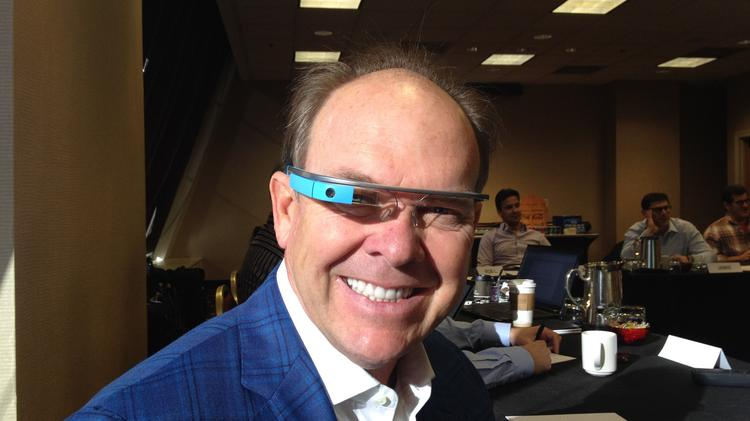 Dr. Stephen Bolick, founder and CEO of optometry practice group Eye Care Associates, wearing Google Glass. Eye Care Associates was recently cleared to begin fitting Google Glass frames with prescription lenses.