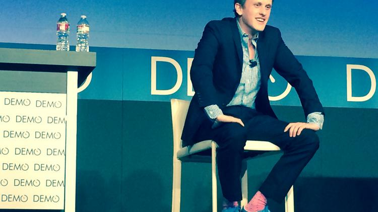Box CEO Aaron Levie talks hot tubs at the DEMO Enterprise event in San Francisco Thursday.