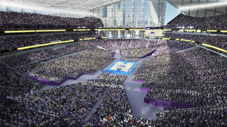 Minneapolis is one of eight finalists to host the NCAA men's Final Four between 2017 and 2020. This is a rendering of a basketball game at the new Minnesota Vikings stadium.