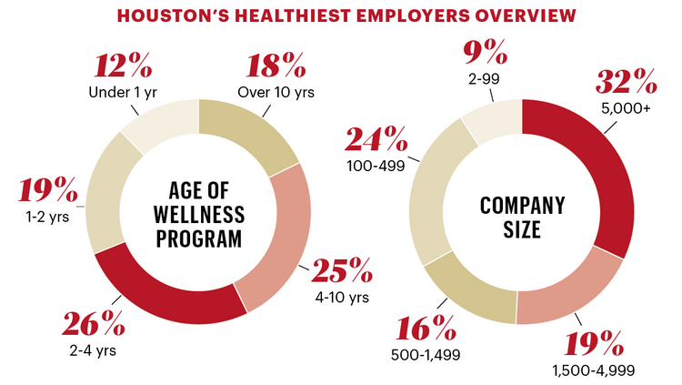 The breakdown of this year's Healthiest Employer edition by company size and age of wellness program.