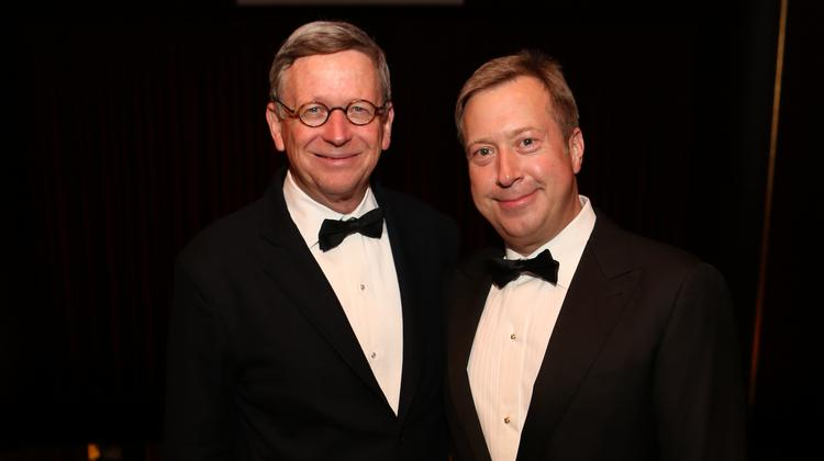 Jerry Fisher and John Turner, who have agreed to underwrite the Houston Grand Opera's Ring cycle, at HGO's opening night in 2013.