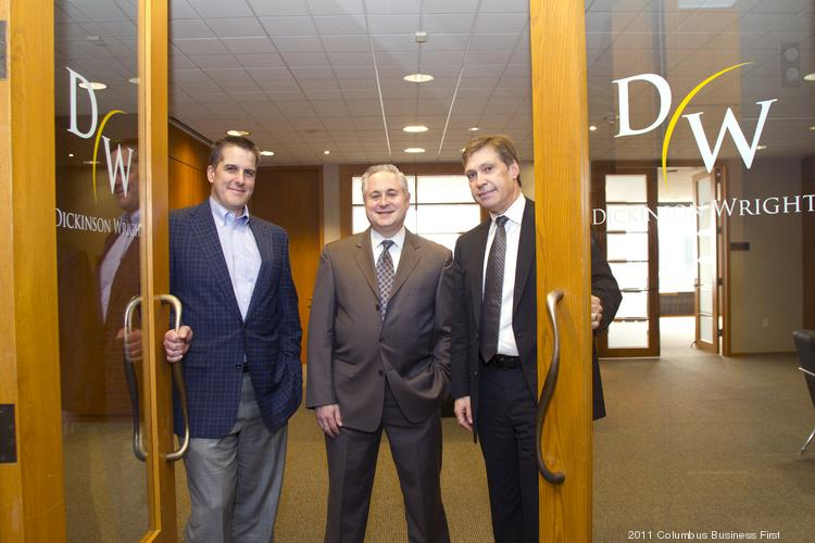 The law firm Dickinson Wright started its Columbus office less than a year ago with just Mike Bridges, left, and Harlan Robins, middle, but has quickly grown to nine attorneys. CEO Bill Burgess, right, now says the firm should have come here sooner.