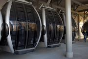 Cable cars stand at a station in Rio de Janeiro, Brazil, on Tuesday.