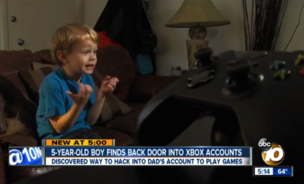 5-year-old, Ocean Beach, California boy, Kristoffer Von Hassel expoes Microsoft Xbox weakness.
