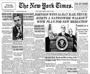 The front page of the The New York Times on April 10, 1964.
