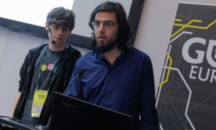 Jan Willem and Rami Ismail, co-founders of Vlambeer, ad the GDC Europe 2013 conference.