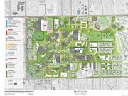 The innovation campus shown by the collection of new buildings in the lower right is only part of Wichita State's master plan concept. (Download a larger version.)