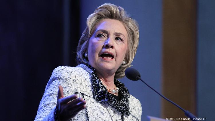Hillary Clinton, former U.S. secretary of state, speaks during the annual meeting of the Clinton Global Initiative in New York in September 2013. Questions emerged about Clinton's relationship with The Boeing Co. in a Washington Post report Monday.