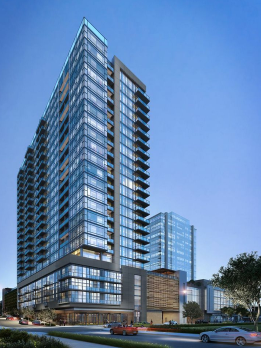 Eakin Partners has submitted plans for a 15-story tower that would stand adjacent to Ray Hensler's Twelve Twelve residential tower (pictured here) in the Gulch.