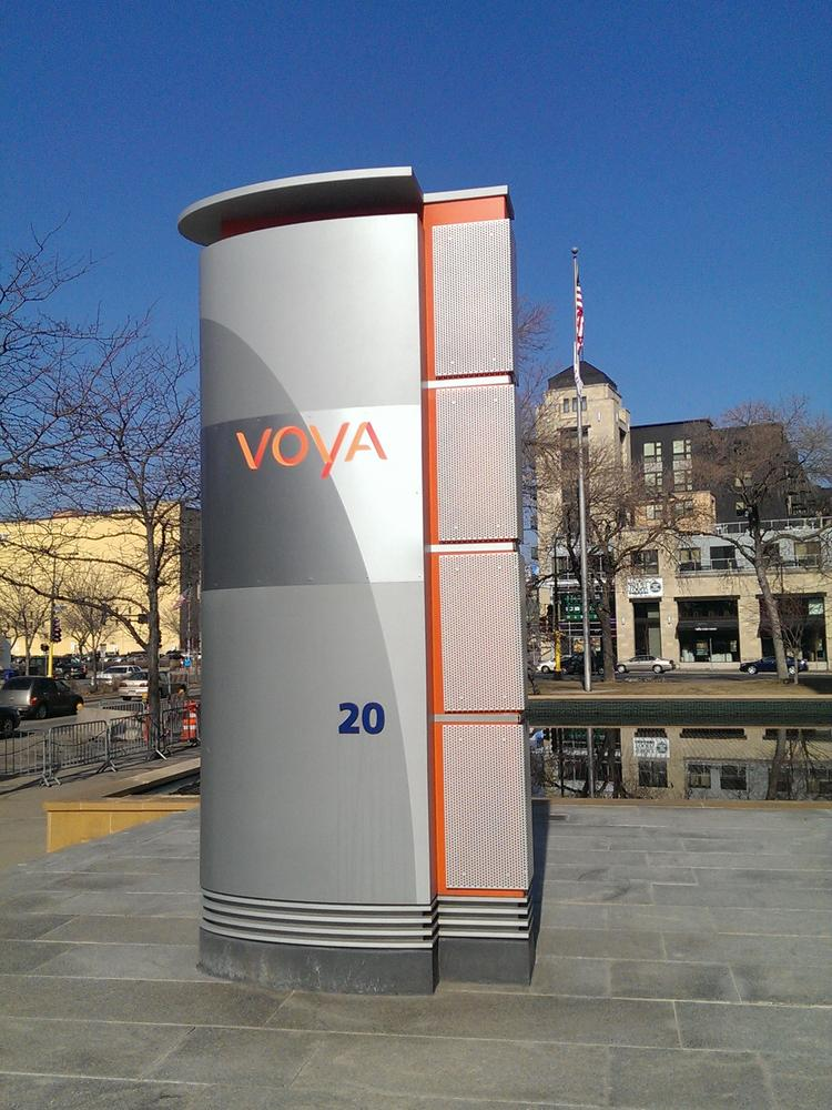 ING U.S. has rebranded as Voya Financial Inc. and installed new signs at the company's Minneapolis office this weekend.