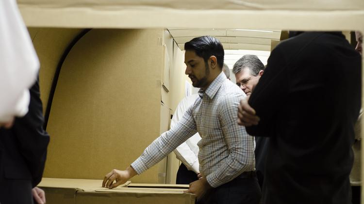 Industrial design major Tristan Carrillo and other CCAD students presented a cardboard mock-up of a live-work trailer to Airstream executives in late March as part of a collaborative project among students from many majors. They'll complete the prototype in an actual Airstream by May.