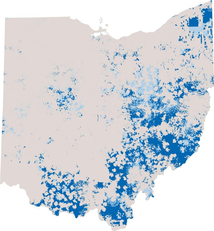 Underserved areas are in light blue and unserved areas are in dark blue.