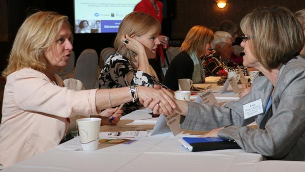 """About 200 women attended the Business Courier's Mentoring Monday event, including 40 """"mentors."""""""