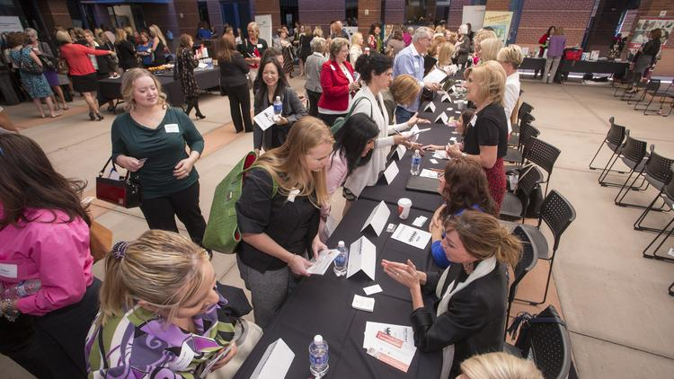 Attendees and mentors lined up around the room during the speed mentoring part of the inaugural Bizwomen Mentoring Monday event in Phoenix. Click through for more photos of the event.
