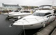 Mooo-cho Leche of Point Venture, Texas, is docked at Lake Union in Seattle where it joins numerous other yachts for sale at Crow's Nest Yachts Seattle.