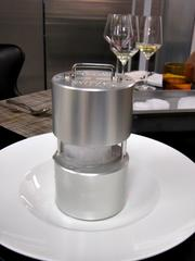 A stainless steel ice press for Rye Bar can turn a block of ice into a super concentrated, slow-melting ice ball.