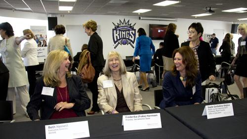 Mentors share a laugh before speed mentoring sessions get underway at BizWomen Mentoring Monday. From left: Beth Hassett, executive director of WEAVE, Frederika (Fraka) Harmsen, provost and vice president of academic affairs at Sacramento State and Gayle Garbolino-Mojica, Placer County Superintendent of Schools.