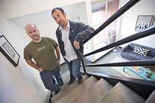 PayStand co-founders Scott Campbell (left) Jeremy Almond in their Santa Cruz office. The startup has raised $1 million to help reach more businesses, charities and other organizations looking for flexible payment options.