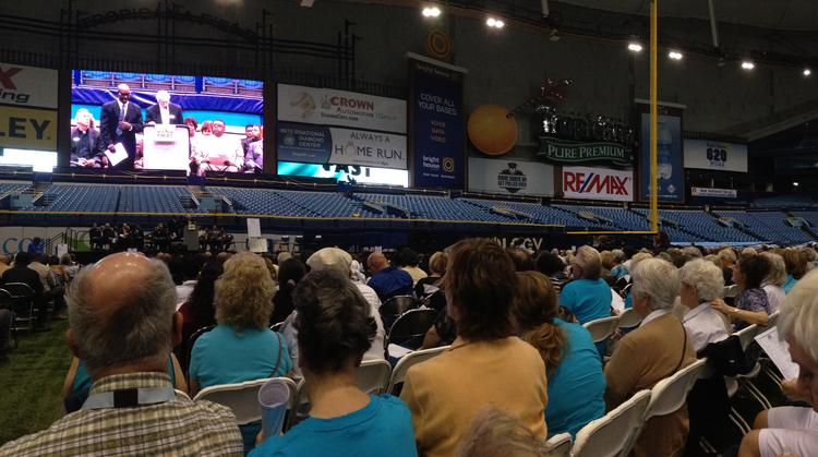 Members of 37 Pinellas County faith organizations called on public officials to act on economic, health and social justice concerns during the FAST Nehemiah Action at Tropicana Field.