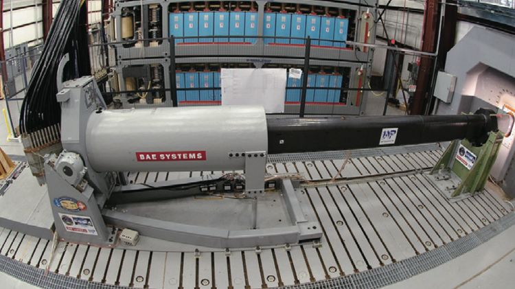 The U.S. Navy has funded two single-shot rail gun prototypes, one by General Atomics and the other by BAE Systems Inc.