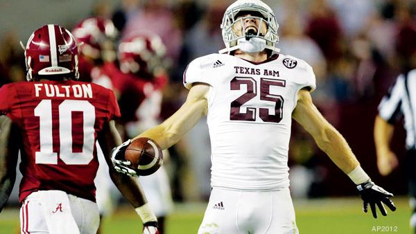 Former Texas A&M football star Ryan Swope cheers after his team beat Alabama during his heyday as the team's wide receiver.
