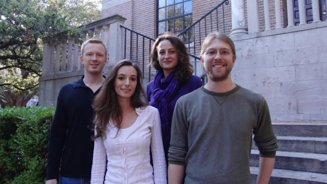 The NanoLinea team from Rice University hopes to commercialize its medical device technology. (From left: Dmitri Tsentalovich, Francesca Mirri, Flavia Vitale and Colin Young)