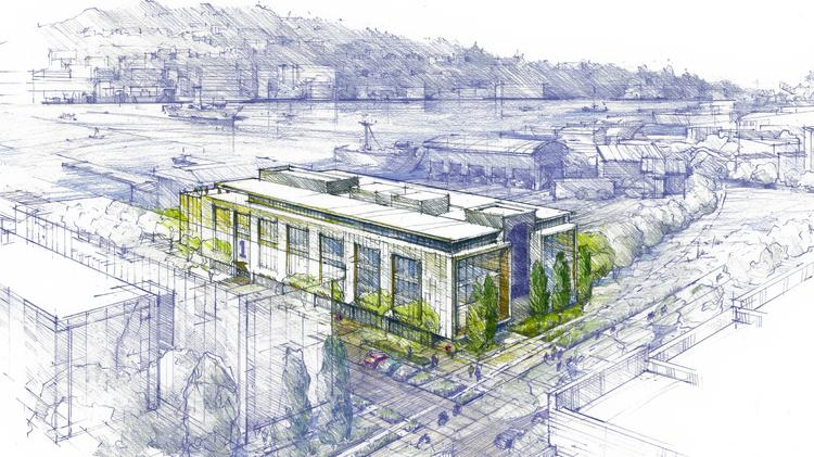 C.D. Stimson, a longtime Seattle company, is planning a large office campus in Ballard. The company plans to construct the project in phases, starting with the building shown in this rendering.