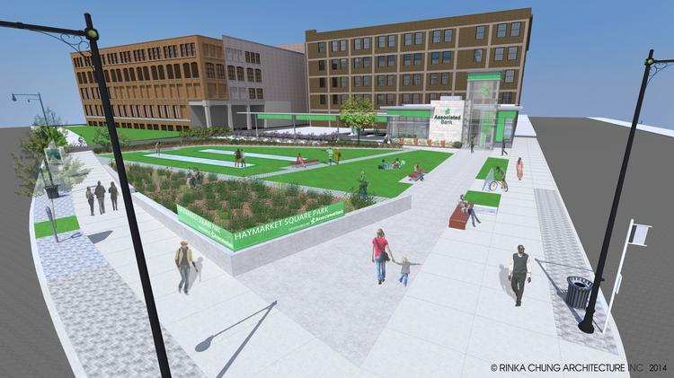 Artist's rendering of Associated Bank's planned Haymarket Square Park, and soon-to-open branch at the corner of North Dr. Martin Luther King Jr. Drive and West McKinley Ave.
