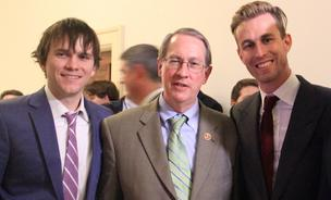 Robocoin co-founder and CTO John Russell (left), Republican Representative and chairman of the House Judiciary Committee, Bob Goodlatte, and Robocoin CEO Jordan Kelley after the demo.