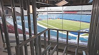 The new press box in Ralph Wilson Stadium was moved to the east end of the stadium. The project, seen here, is one of several under way before the Bills kick off the 2014 season. Others are new luxury suites and concession stands, concourse improvements and a 12,000-square-foot Bills store.