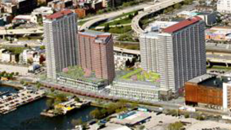 An affiliate of Carl Marks & Co. is looking to construct a large apartment complex fronting the Delaware River.