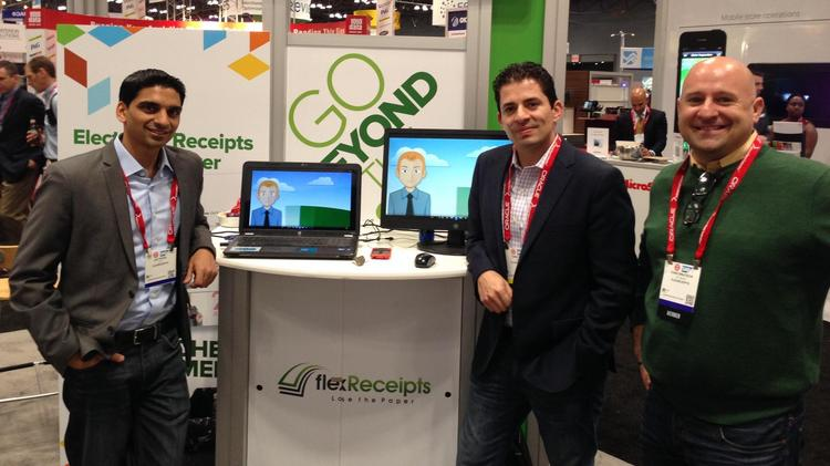 The FlexReceipts management team at the National Retail Federation's show. From left to right: Jay Patel, chief technology officer; Tomas Diaz, CEO; Chat Bratschi, vice president of sales.